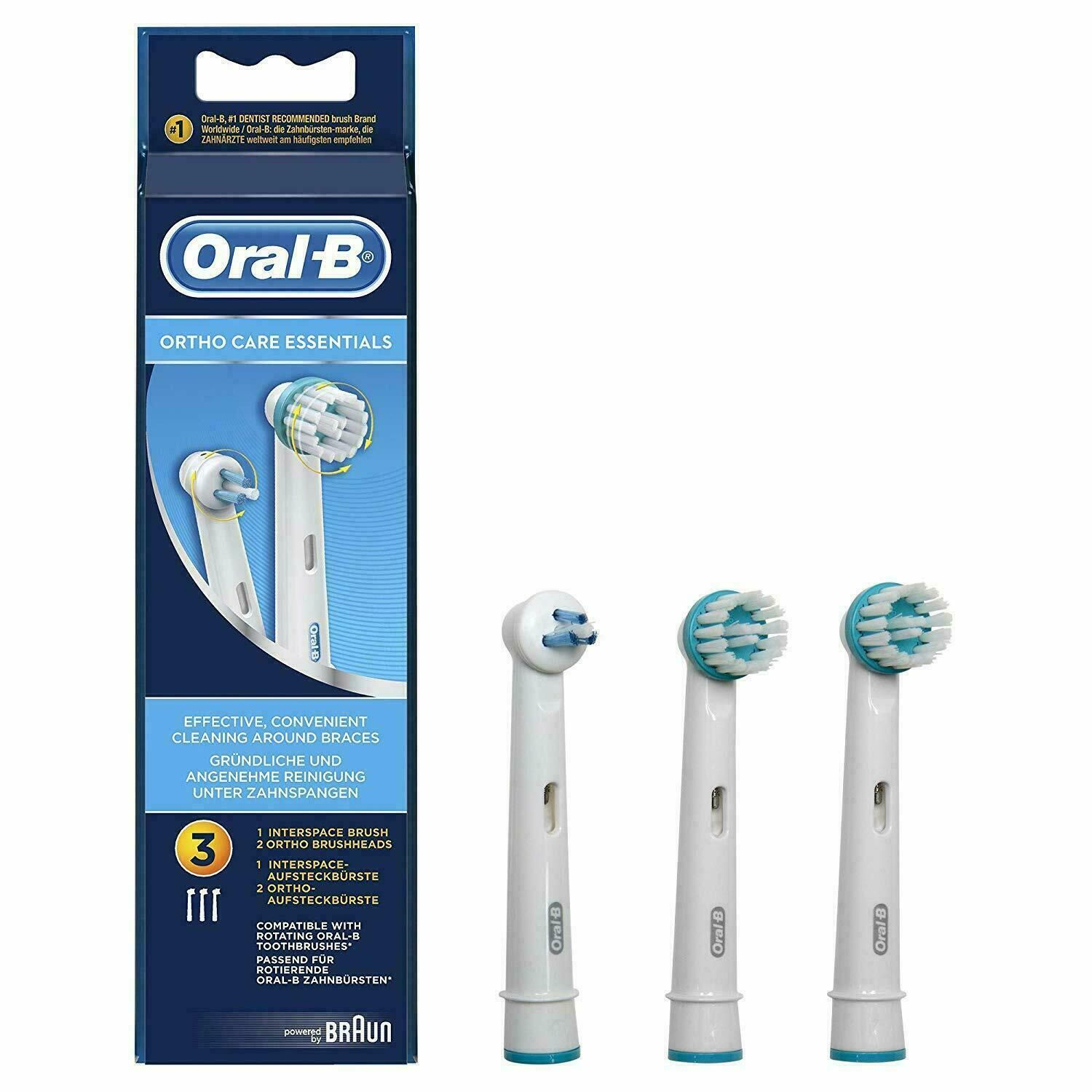 Oral-B Ortho Care Essentials Replacement Toothbrush Heads for Braces, Count 3