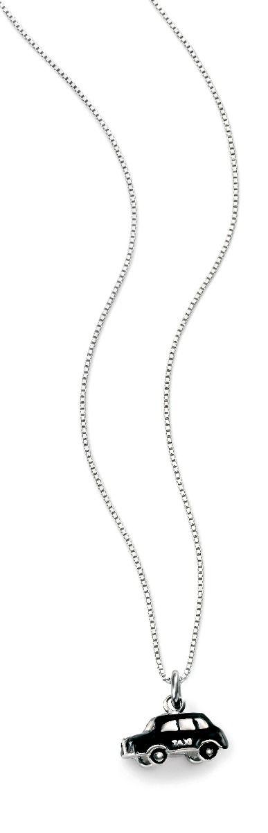 Diamond black taxi cab necklace