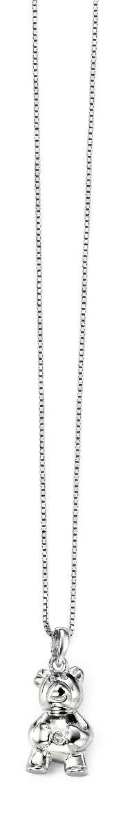 Sterling silver diamond teddy bear necklace