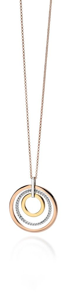 Fiorelli Silver Womens 925 Sterling Silver, Yellow Gold & Rose Gold Plating Open Round Disc Pendant Necklace of Length 76cm