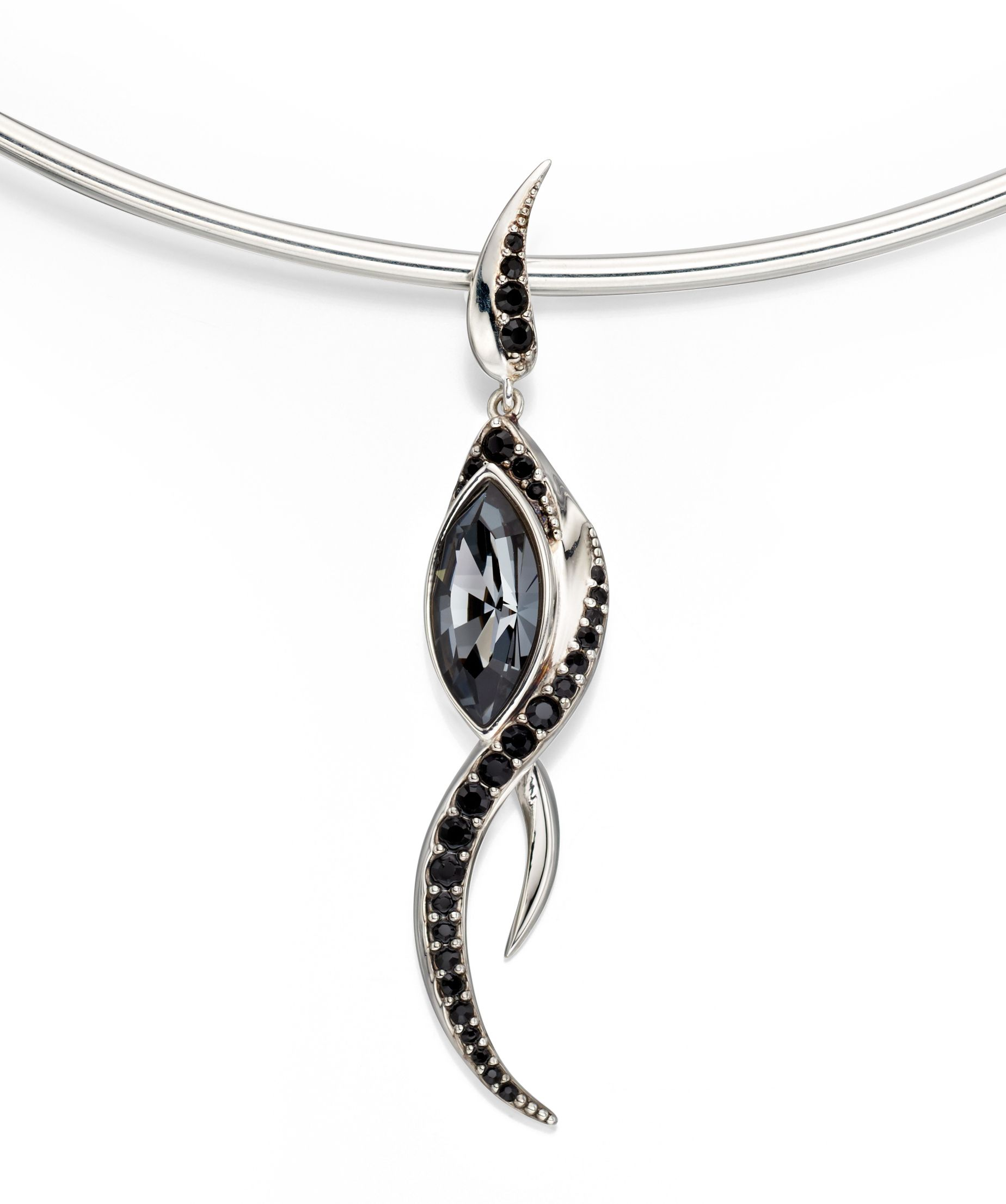 Elements Silver Womens 925 Sterling Silver Black Crystal by Swarovski Flame Drop Pendant Necklace of Length 46cm