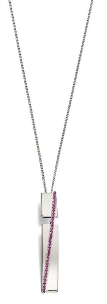 Fiorelli Silver Womens 925 Sterling Silver Pave Pink Synthetic Corundum Bar Drop Pendant Necklace of Length 41cm + 5cm