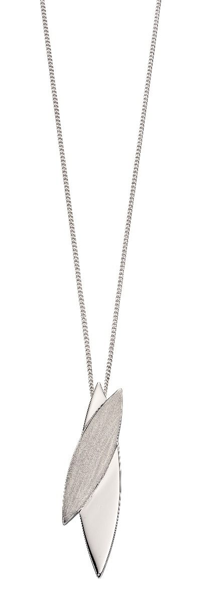 Fiorelli Silver Womens 925 Sterling Silver Brushed & Polished Finish Navette Pendant Necklace of Length 41cm + 5cm