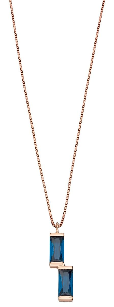 Fiorelli Silver Womens 925 Sterling Silver Baguette Blue Nano Crystal & Rose Gold Pendant Necklace of Length 41cm + 5cm