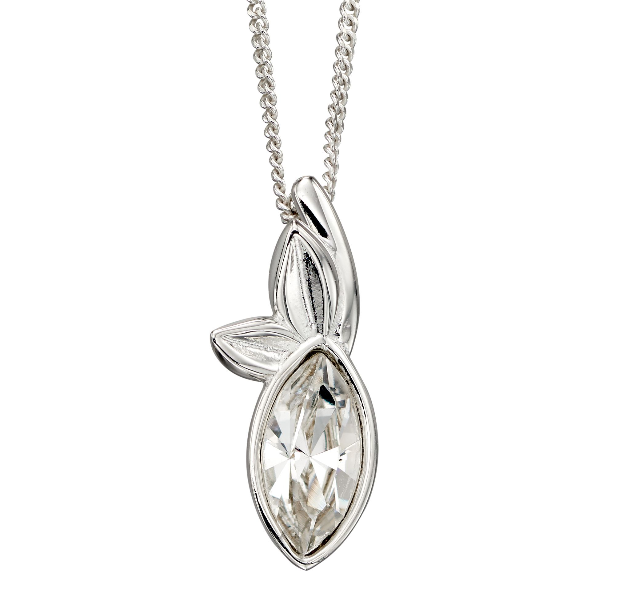 Elements Silver Womens 925 Sterling Silver Clear Crystal by Swarovski Leaf Navette Pendant Necklace of Length 46cm