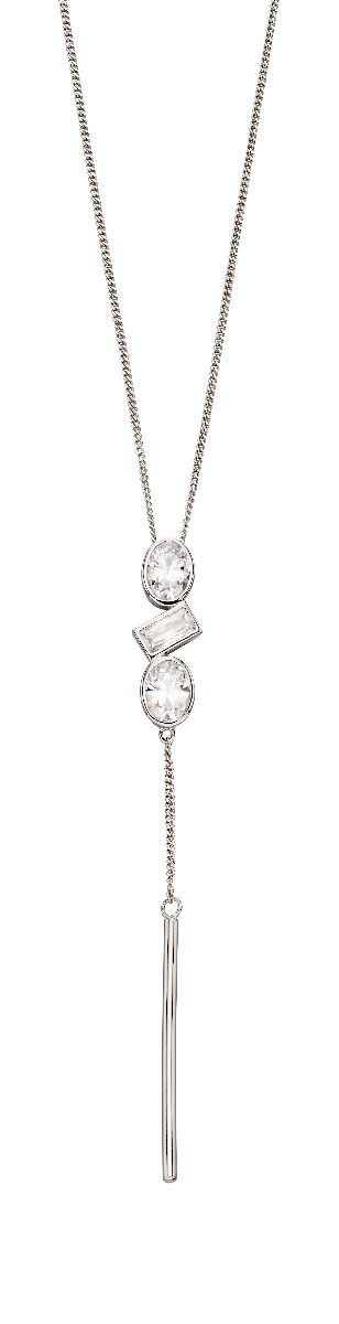 Fiorelli Silver Womens 925 Sterling Silver Assorted Cubic Zirconia Stone Shapes & Chain Drop Pendant Necklace of Length 41cm + 5cm