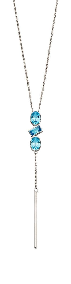 Fiorelli Silver Womens 925 Sterling Silver Assorted Blue Cubic Zirconia Stone Shapes & Chain Drop Pendant Necklace of Length 41cm + 5cm
