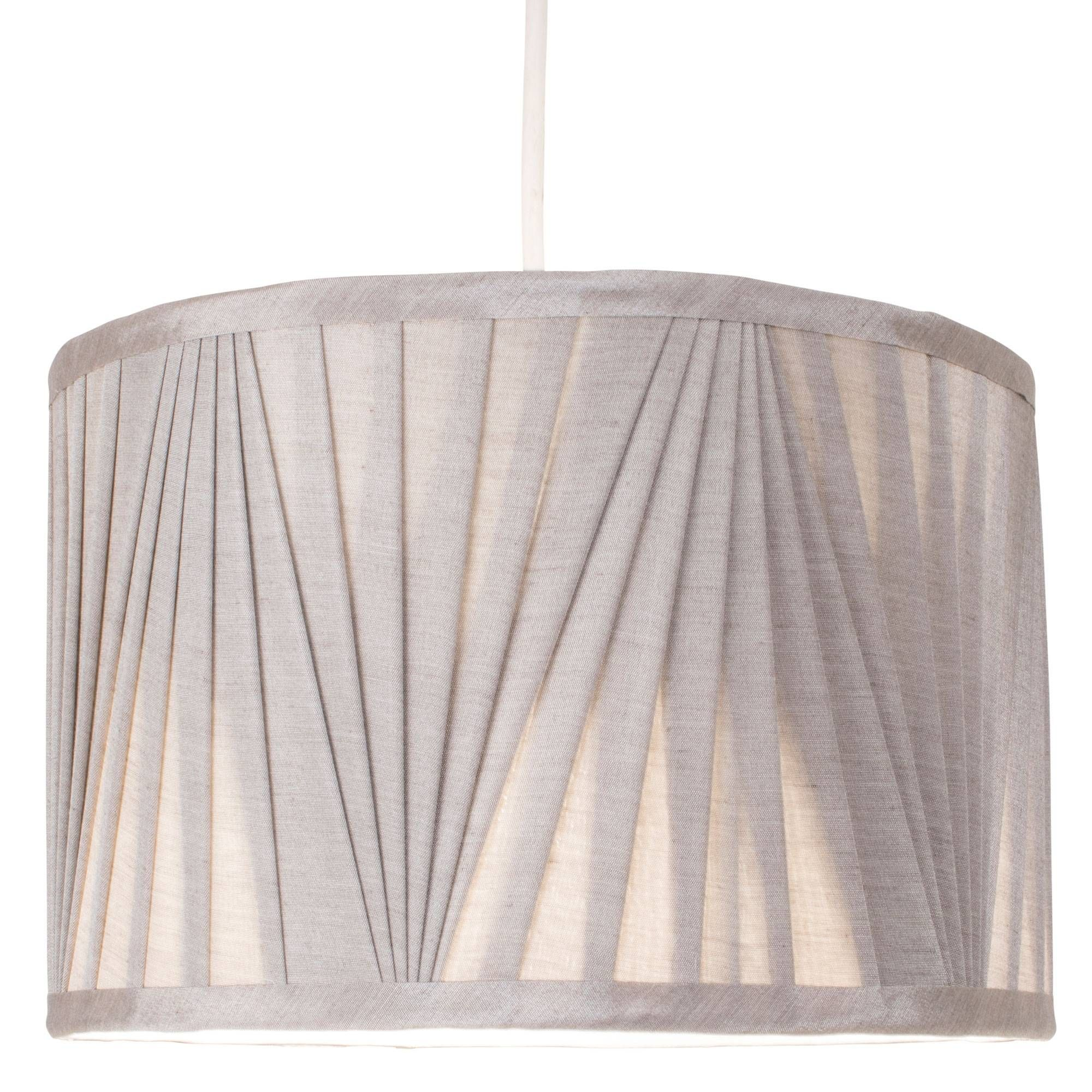 Silver 30cm Faux Silk Pendant Light Shade