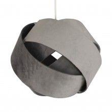 Katey Dark Grey Velvet Pendant Ceiling Light Shade