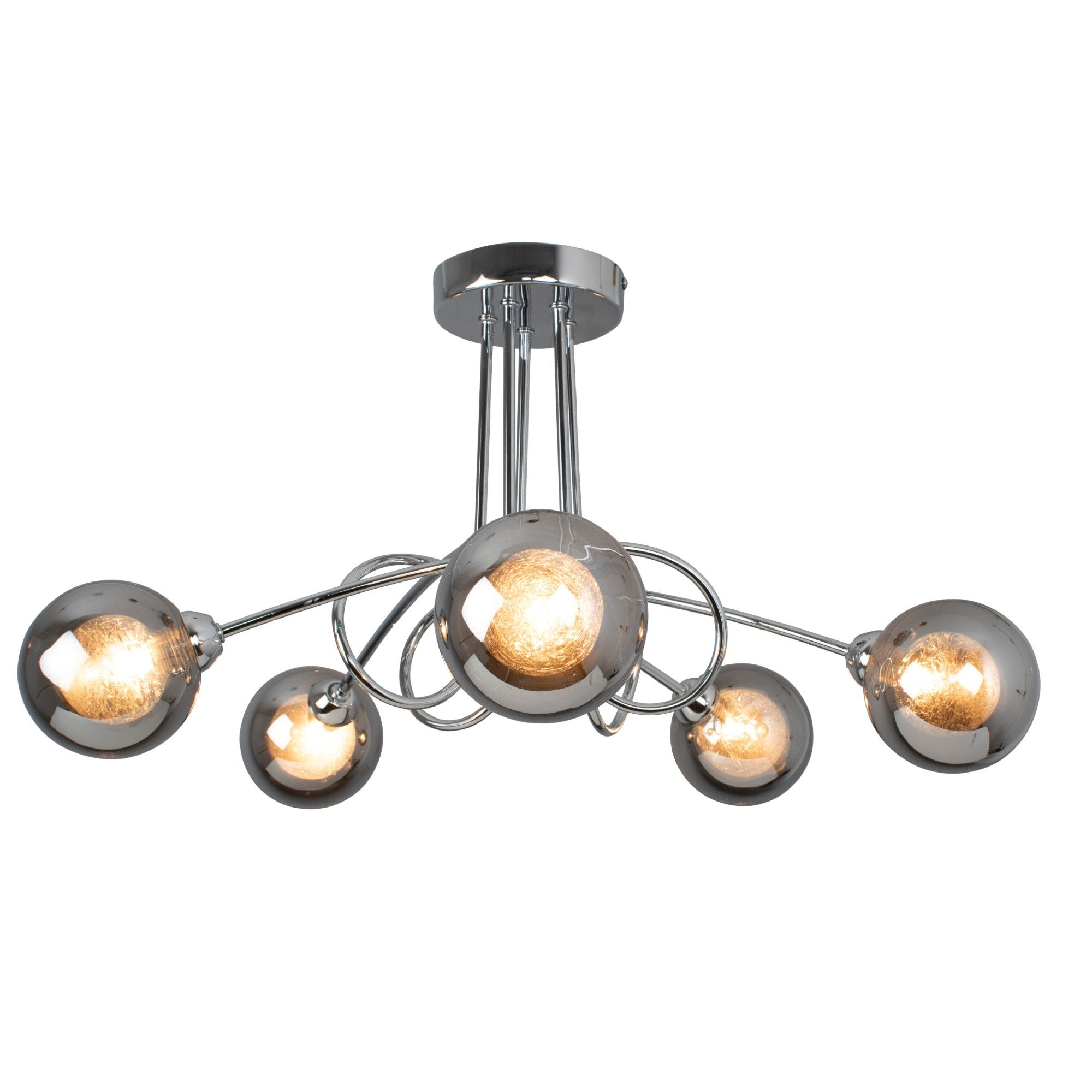 Xena Polished Chrome and Smoked Glass 5 Light Semi Flush Ceiling Light