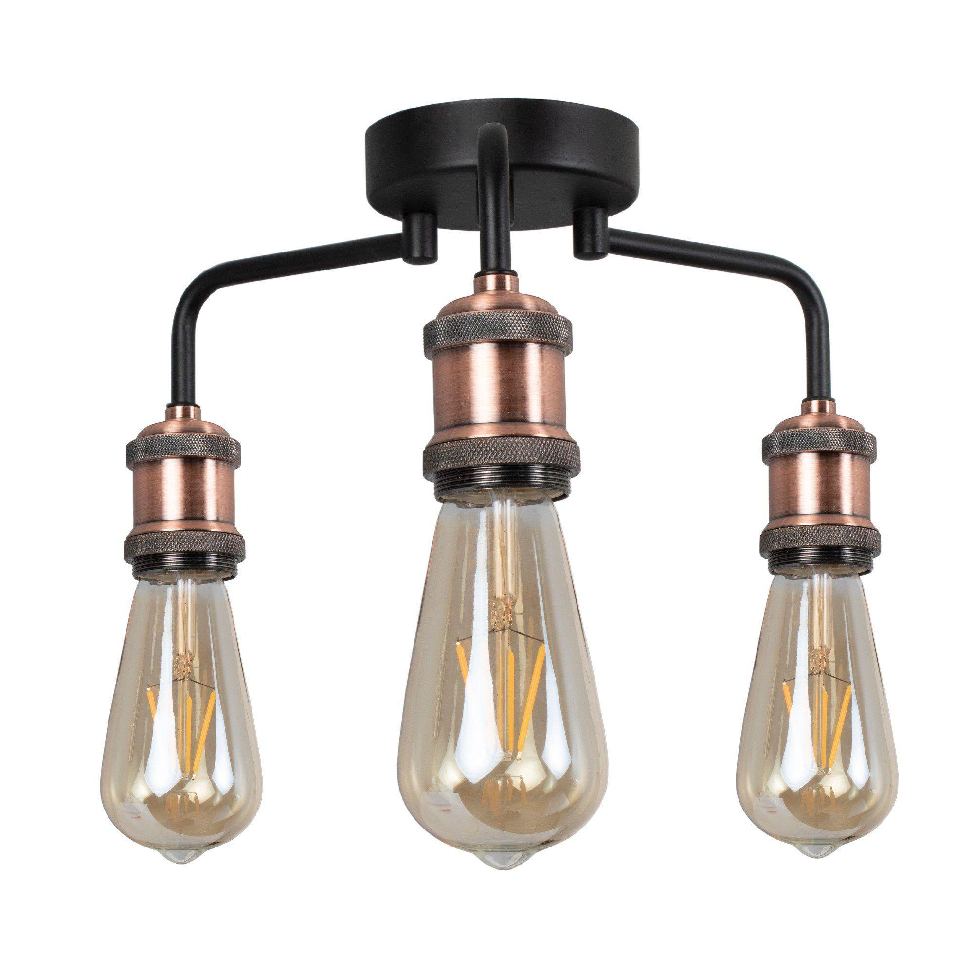 Clark Matt Black and Copper 3 Light Semi Flush Ceiling Light