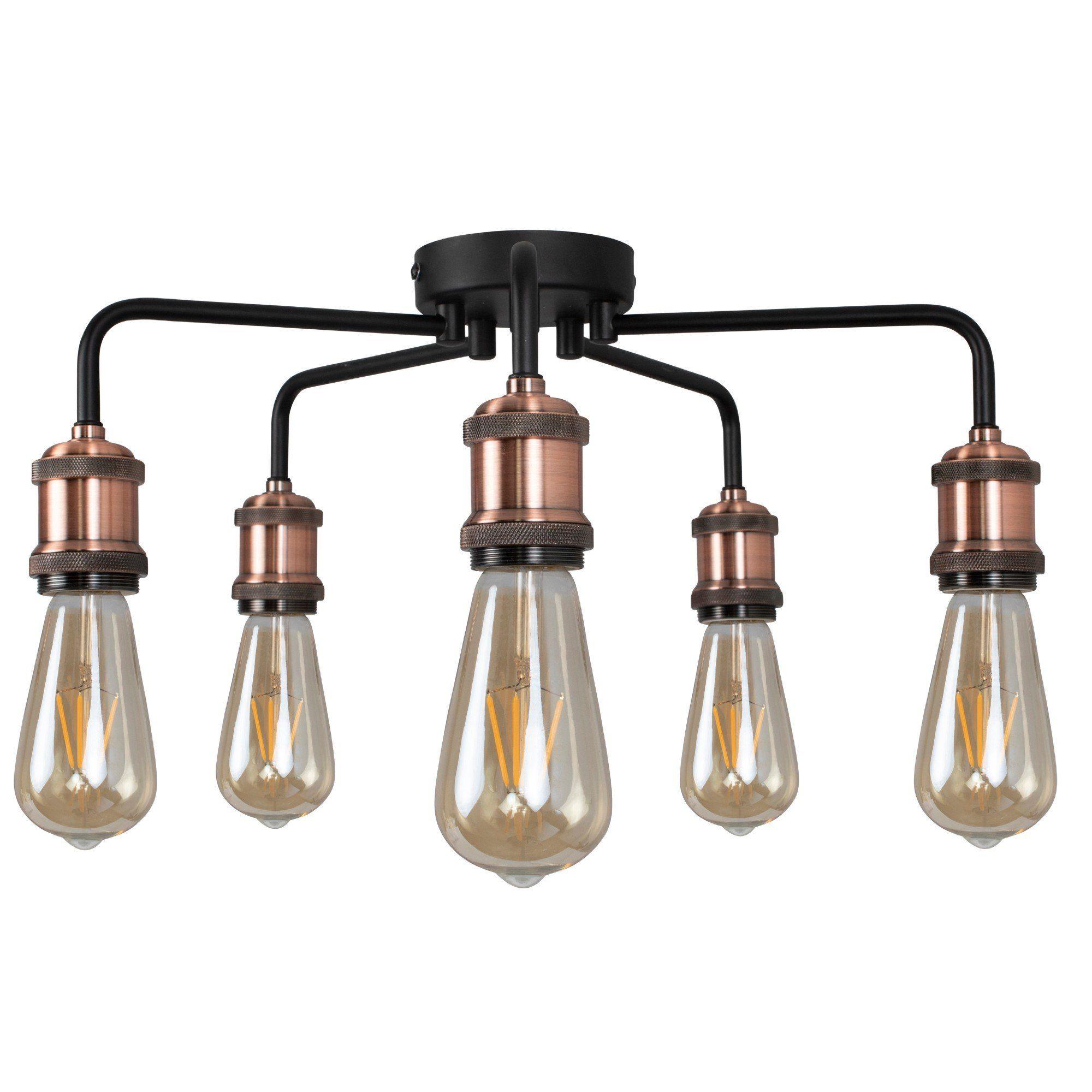 Clark Matt Black and Copper 5 Light Semi Flush Ceiling Light