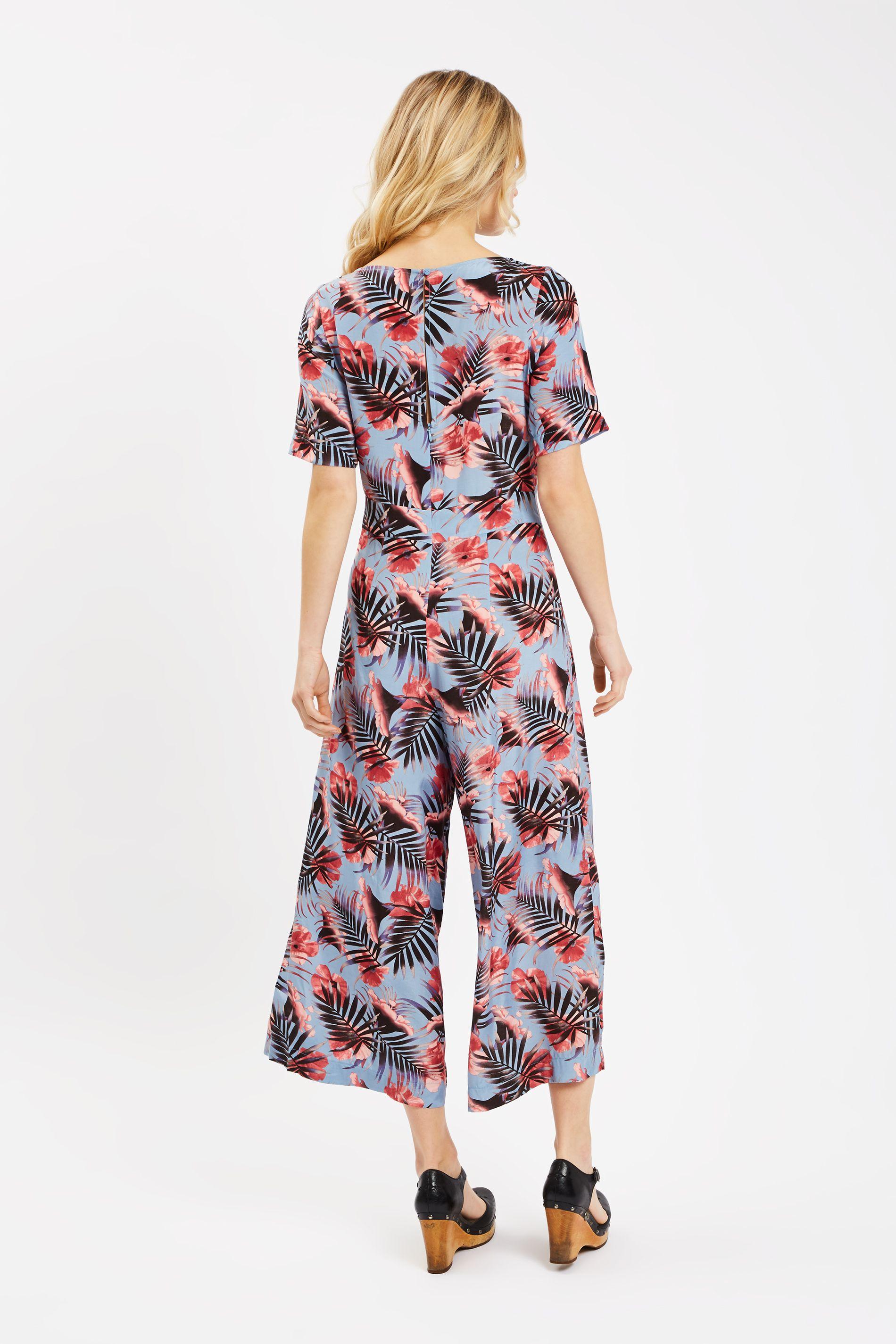 Bianca Palm Print Short Sleeve Jumpsuit in Blue
