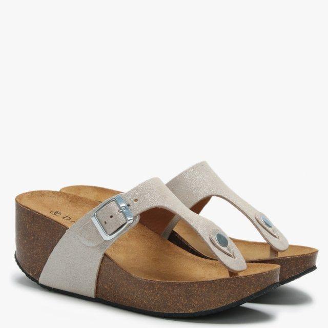 Daniel Peccavi Metallic Leather Toe Post Wedge Sandals