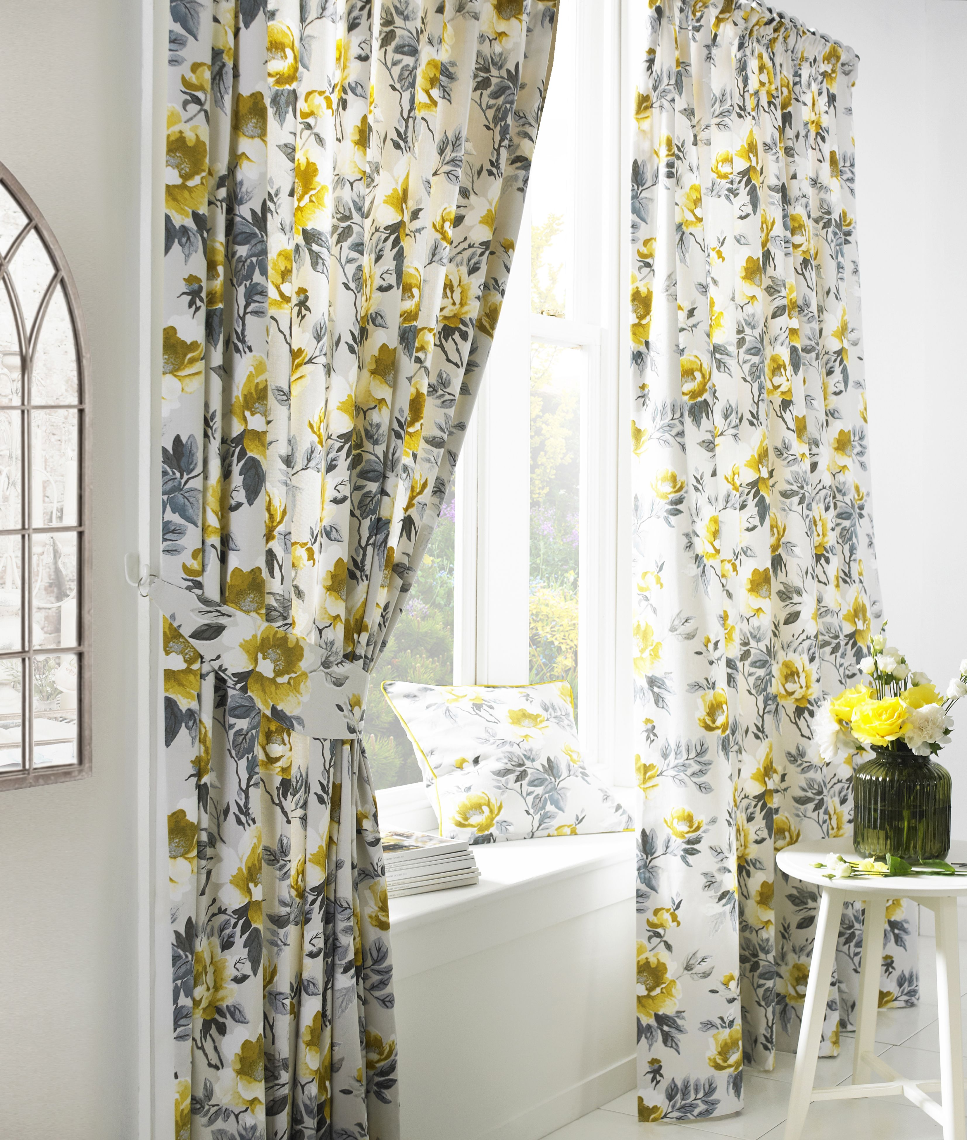 Peony Printed Floral Pencil Pleat Curtains in Ochre