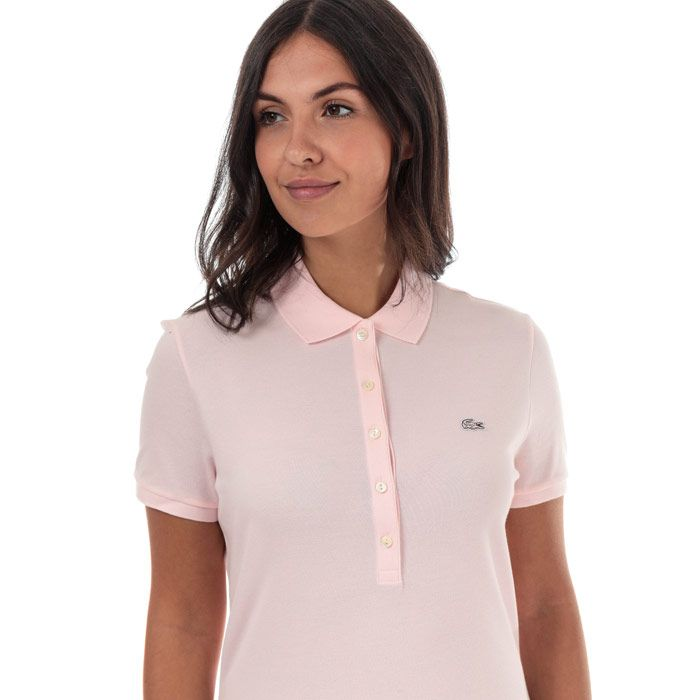 Women's Lacoste Slim Fit Stretch Cotton Pique Polo Shirt in Pink