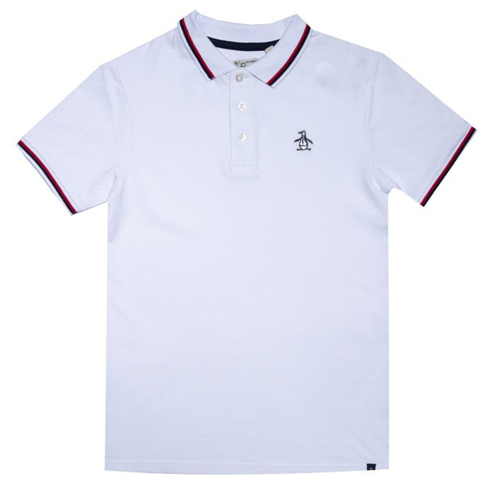 Boy's Original Penguin Junior Contrast Tipping Polo Shirt in White