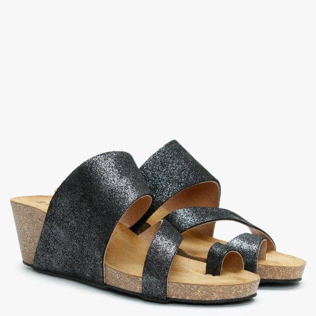 Daniel Pia Metallic Leather Toe Ring Wedge Mules
