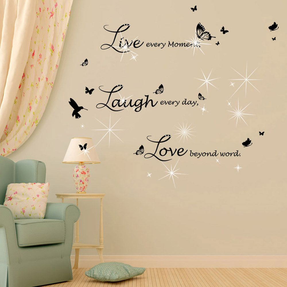 Walplus Live Laugh Love in Lucida Handwriting with Swarovski Crystals