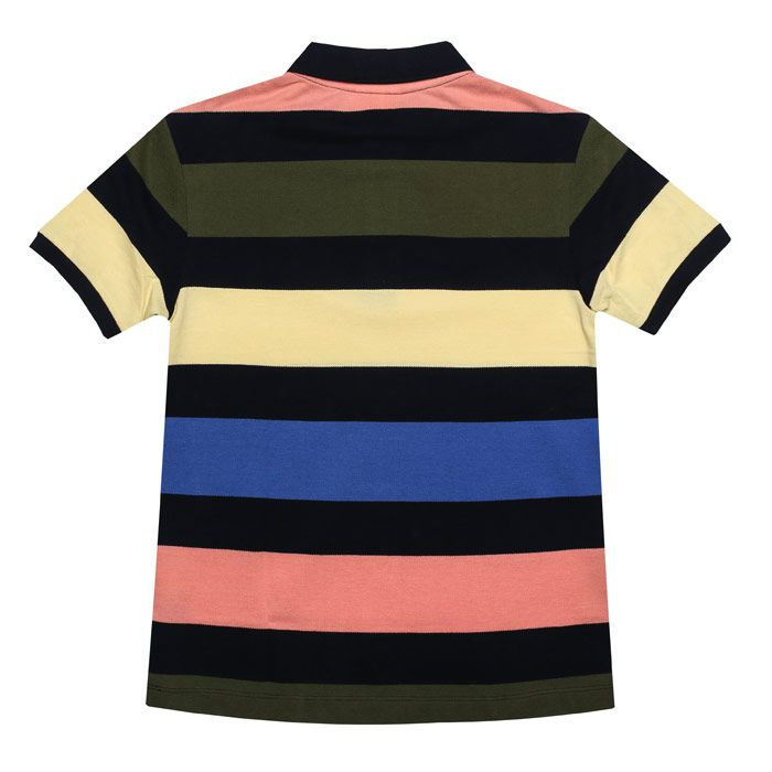Boy's Lacoste Junior Striped Polo Shirt in Navy