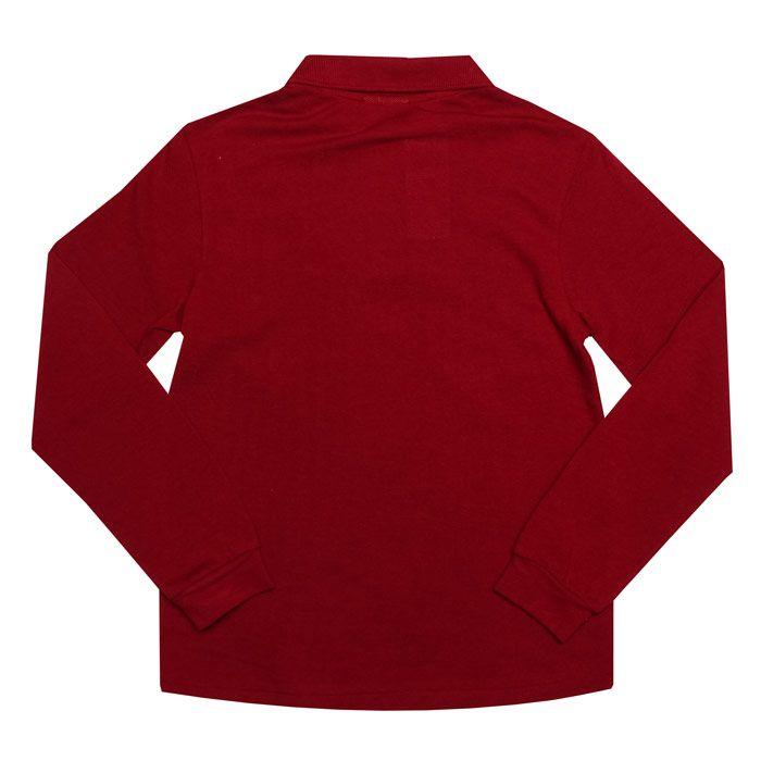 Boy's Lacoste Junior Long Sleeve Polo Shirt in Burgundy