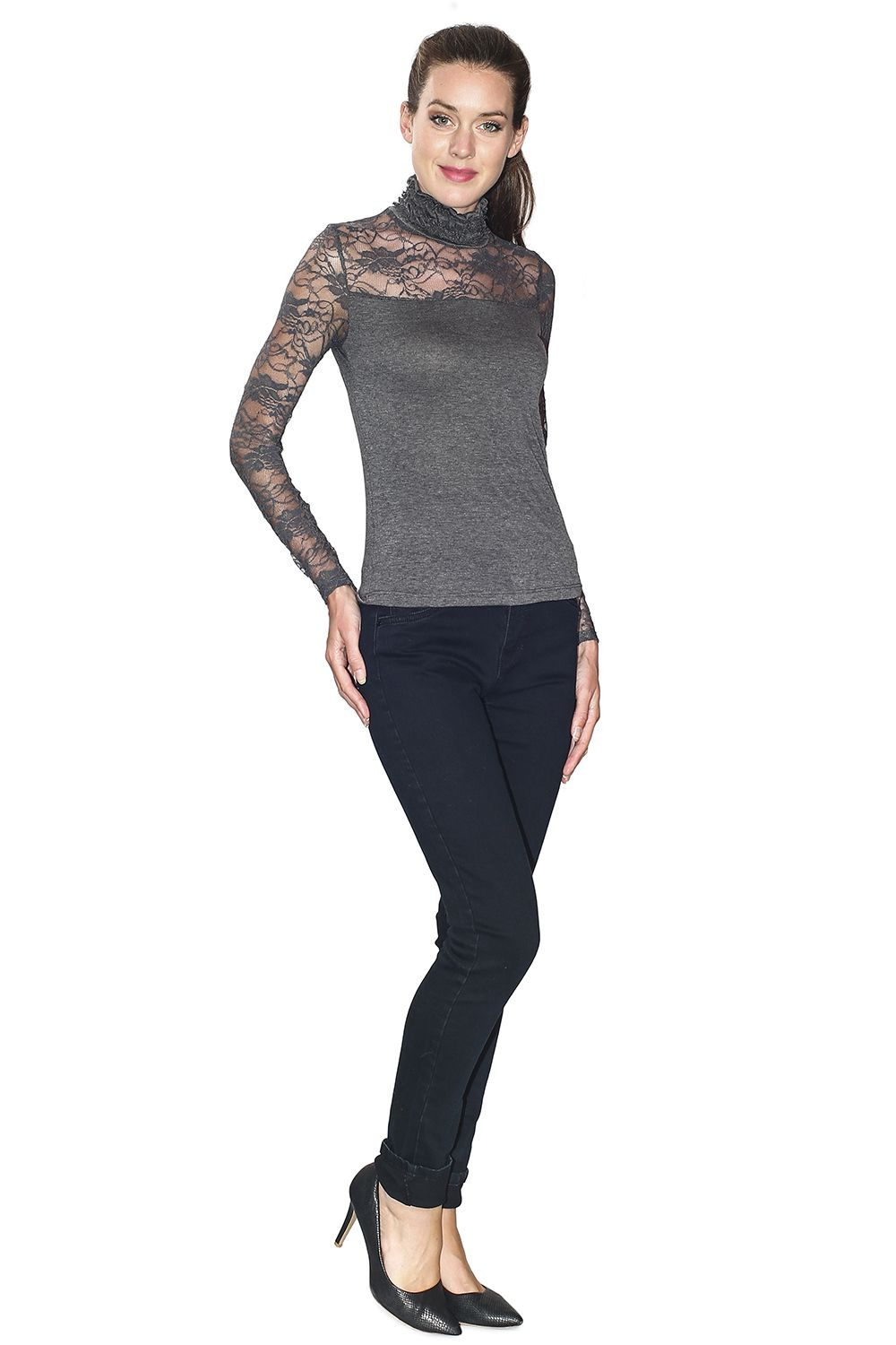 Assuili Ruffle Neck Long Sleeve Lace Top in Grey