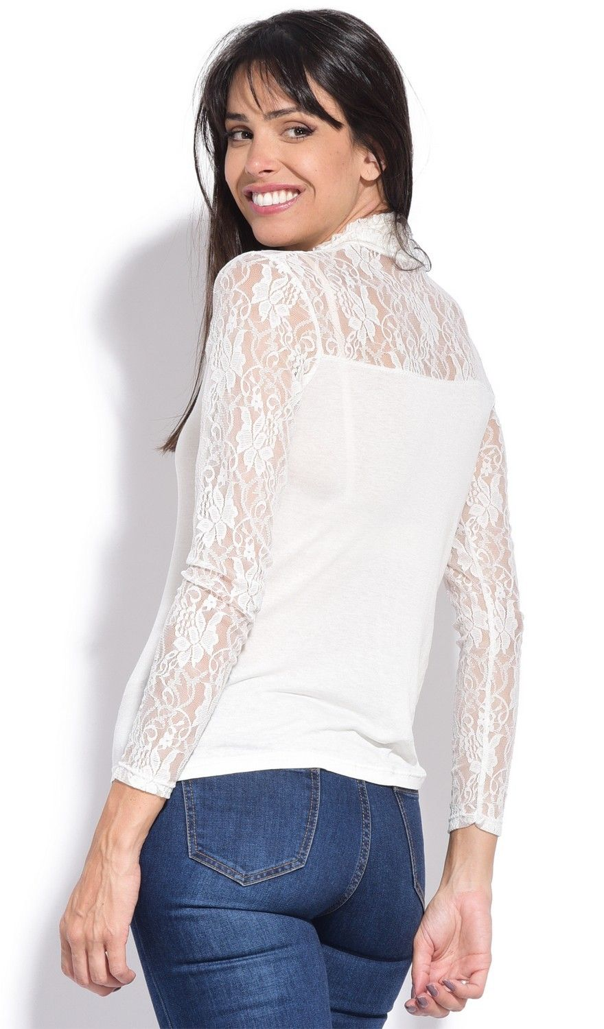 Assuili Ruffle Neck Long Sleeve Lace Top in Ivory