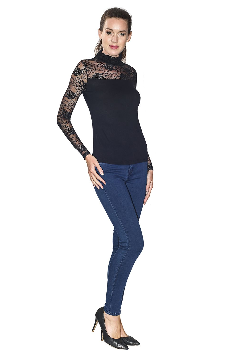 Assuili Ruffle Neck Long Sleeve Lace Top in Black