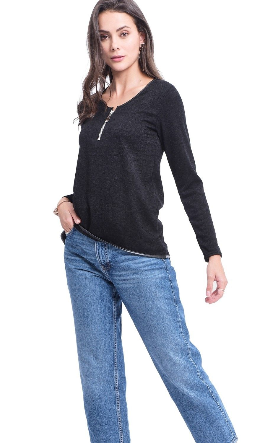 Assuili Round Neck Zip Top in Black