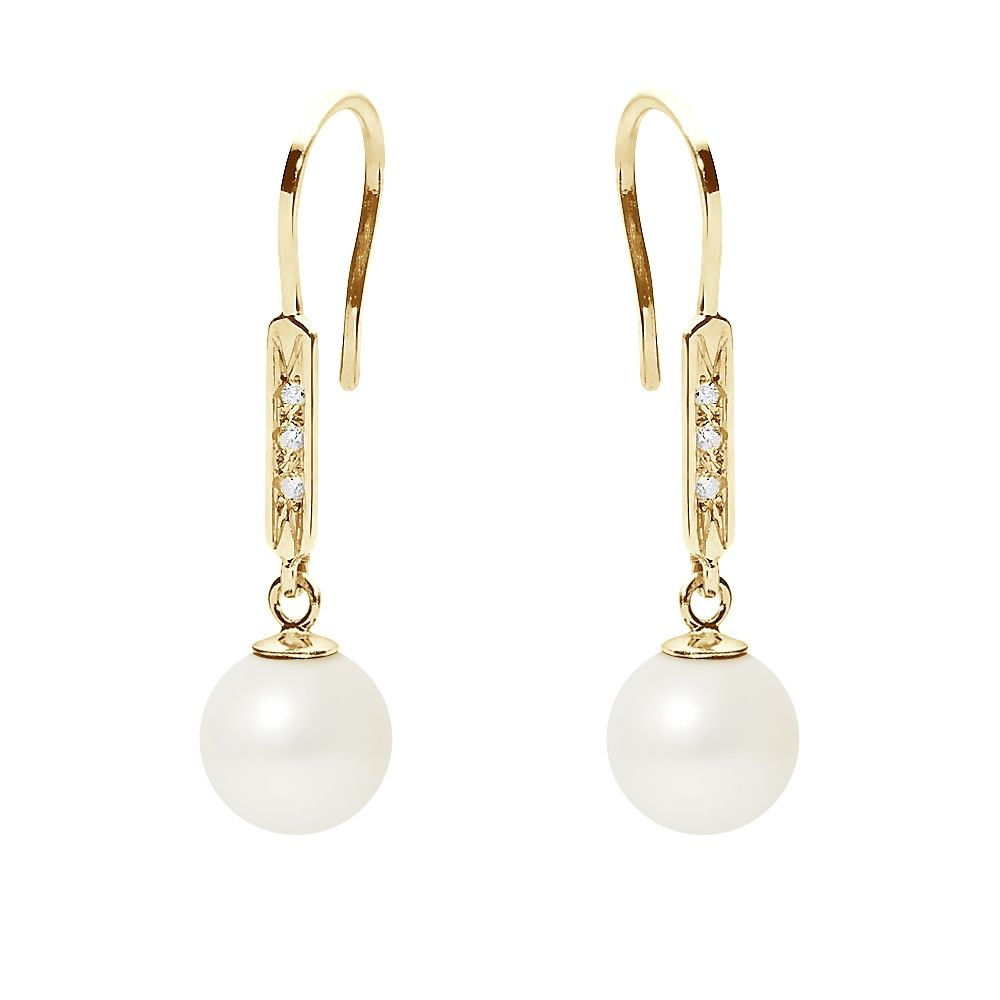 White Freshwater Pearl, Diamonds Dangling Earrings and yellow gold 750/1000