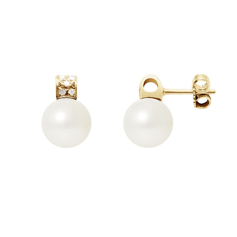 White Freshwater Pearls, Diamonds Earrings and yellow gold 750/1000