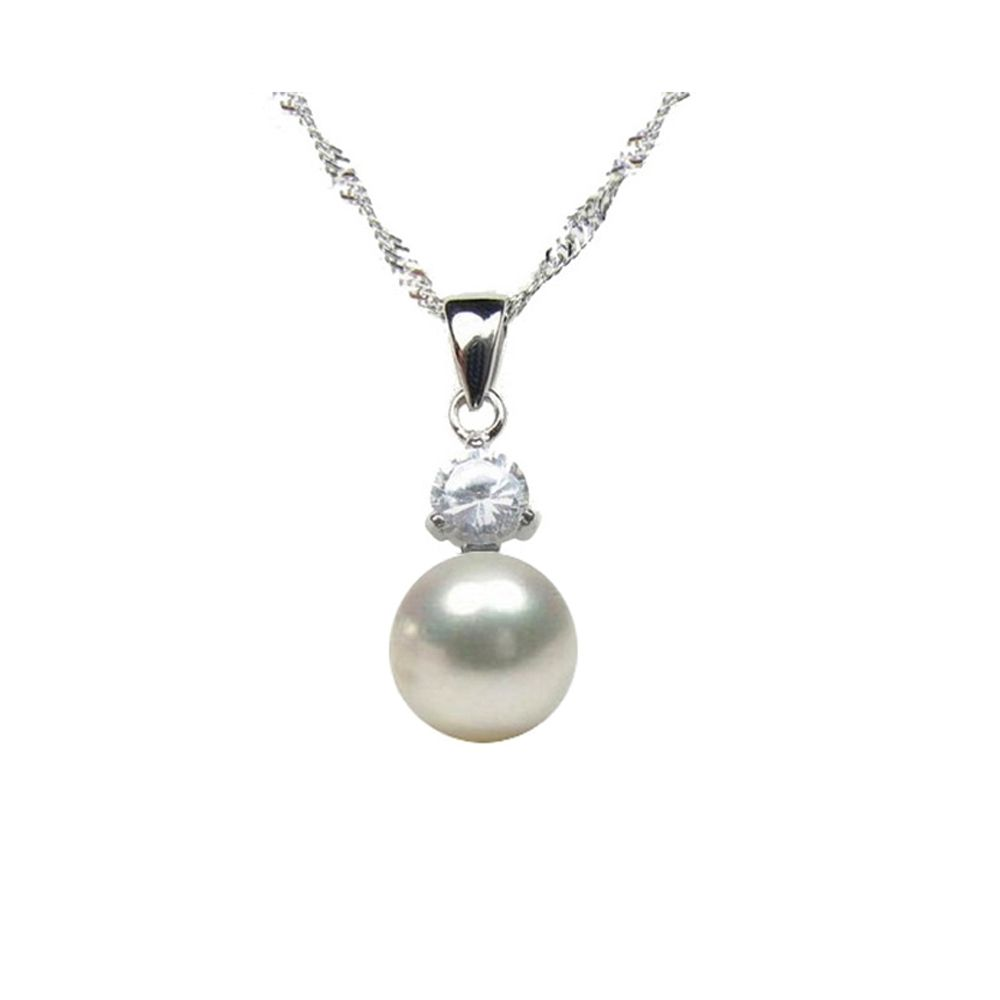 White Freshwater Pearl Cubic Zirconia Pendant and Silver