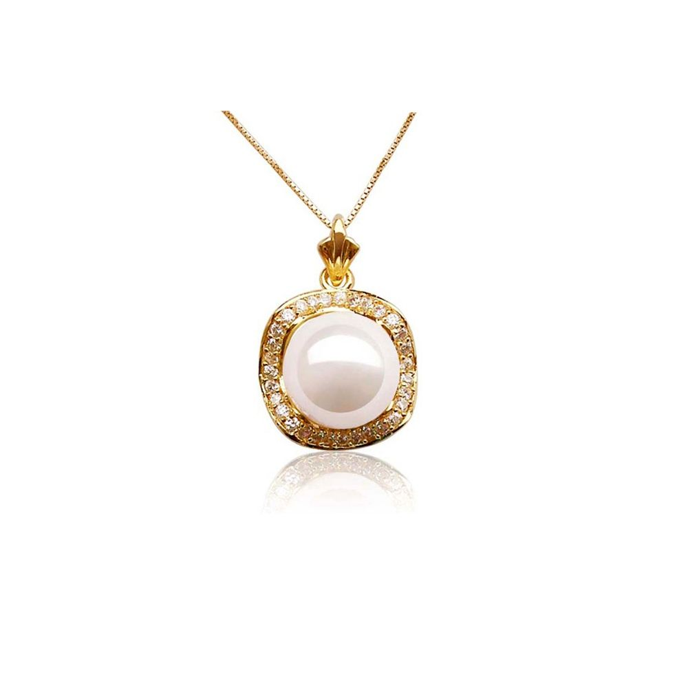 White Mother of Pearl Imitation Pendant and Yellow Gold Plated