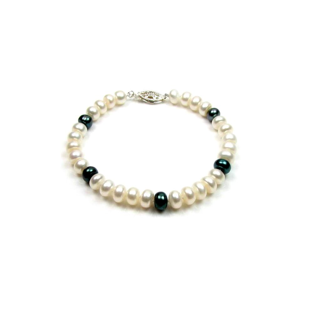 White and Black Freshwater Pearl Bracelet and 925 Silver