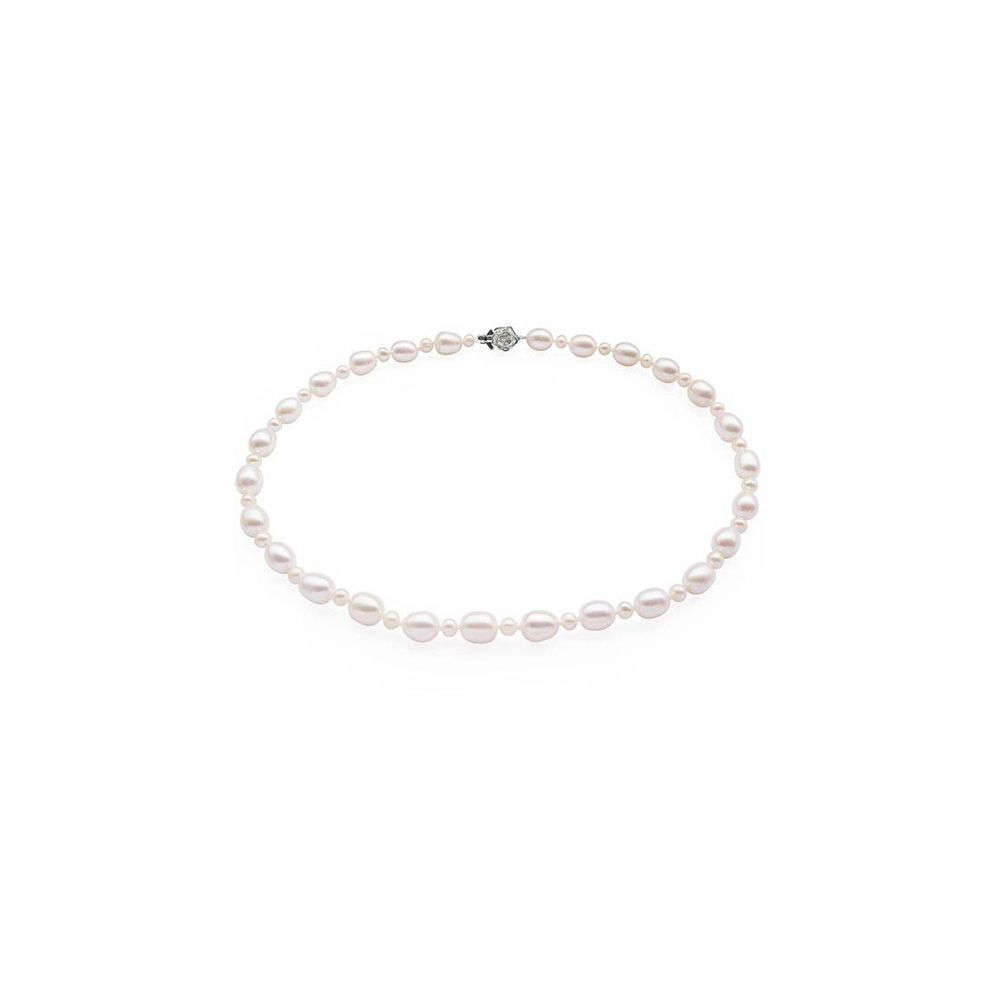White Freshwater Pearl Necklace and Flower Silver Clasp