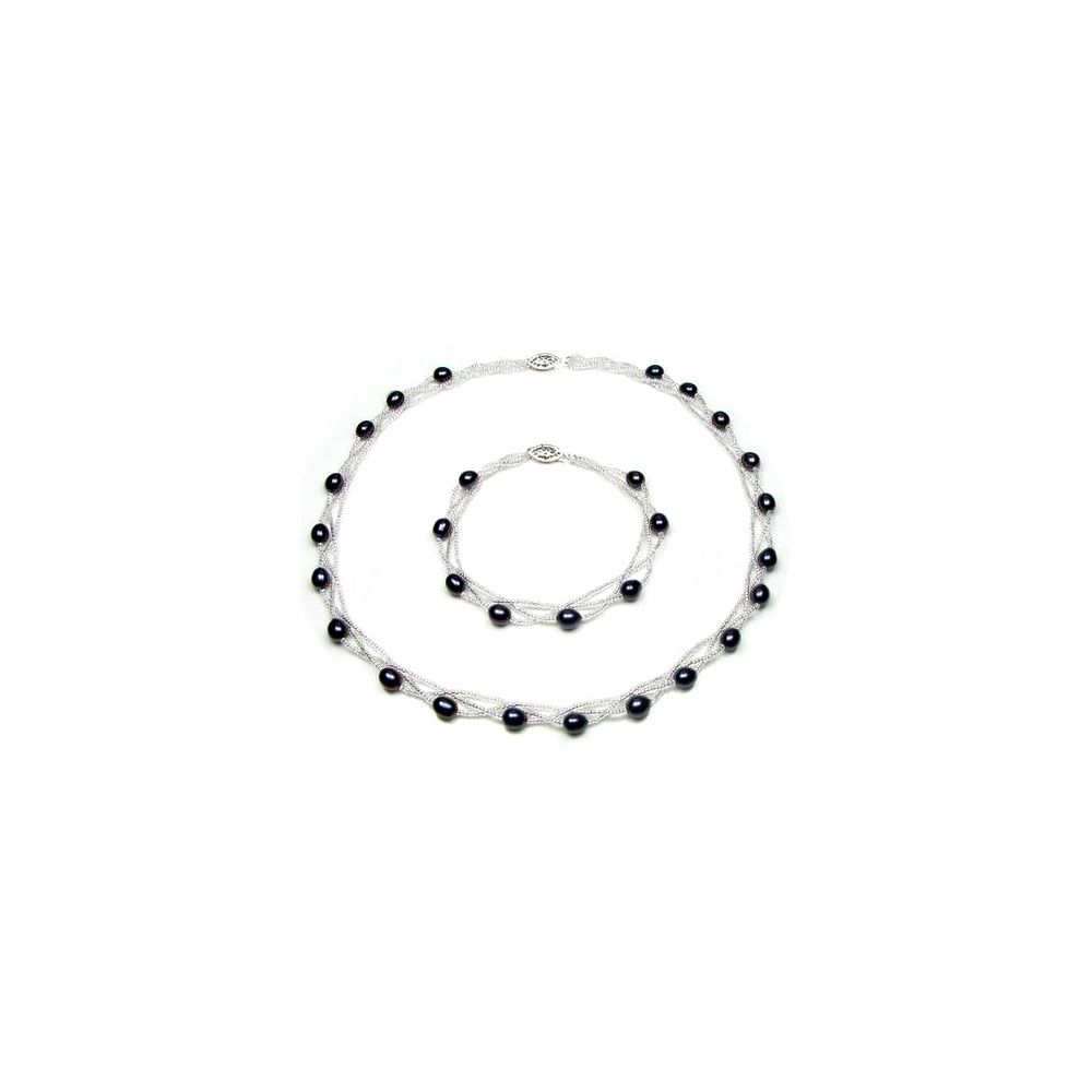 Black Freshwater Pearl Twisted Necklace and Bracelet Set and Silver Clasp