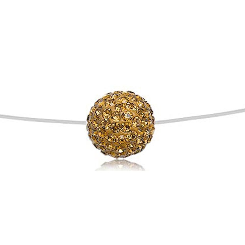Invisible Nylon Necklace Gold Crystal Bead and Silver