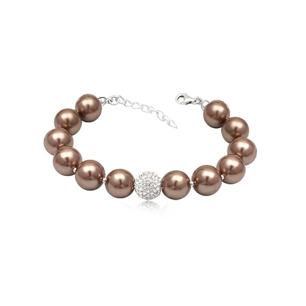 Golden Brown Pearls White Crystal Bead and 925 Silver Bracelet