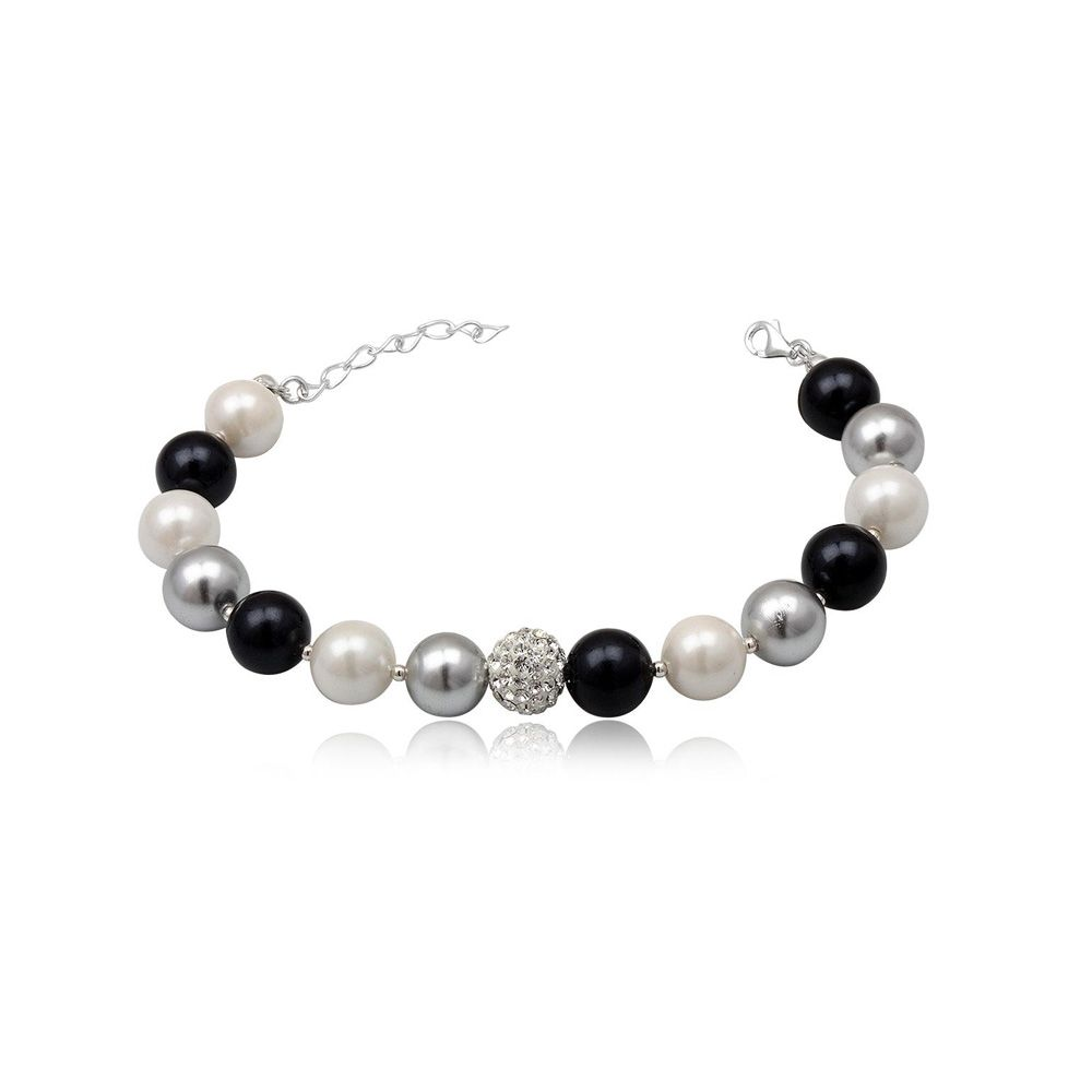 Black White Silver Pearls White Crystal Bead and 925 Silver