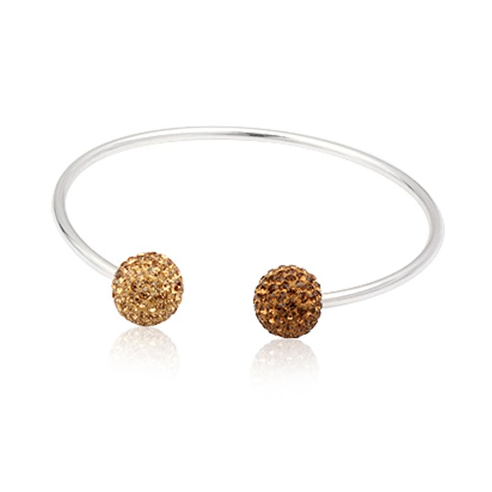 925 silver Bangle Bracelet and Gold Crystal Beads