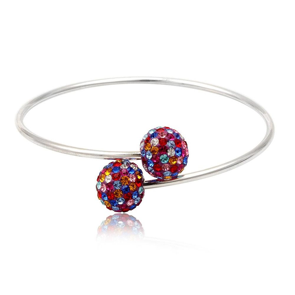 925 Silver Bangle Bracelet and Multicolor Crystal Beads