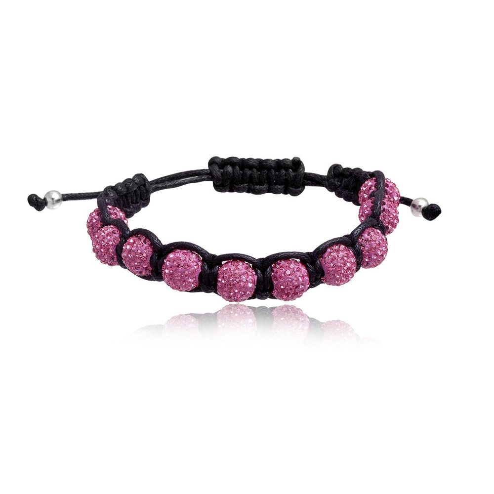 Shamballa Bracelet 10 pink Crystal Beads and 925 Silver