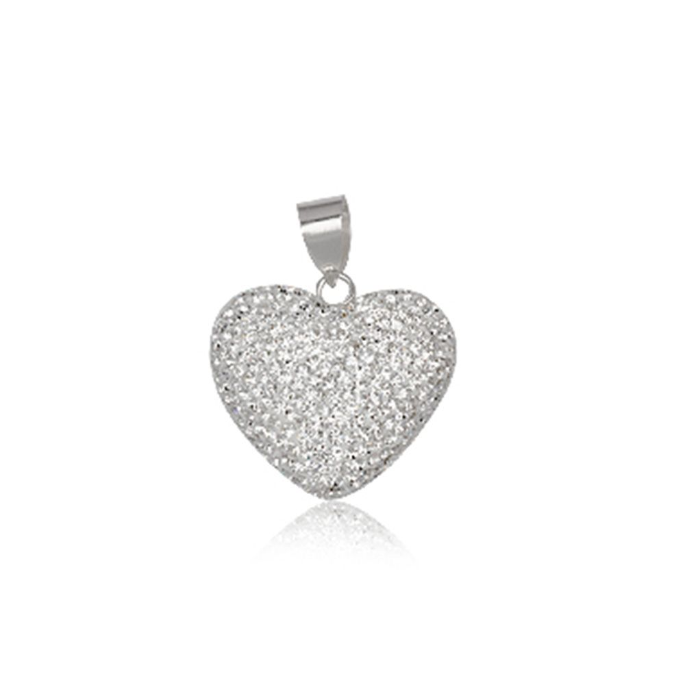 White Crystal big Heart Pendant and 925 Silver