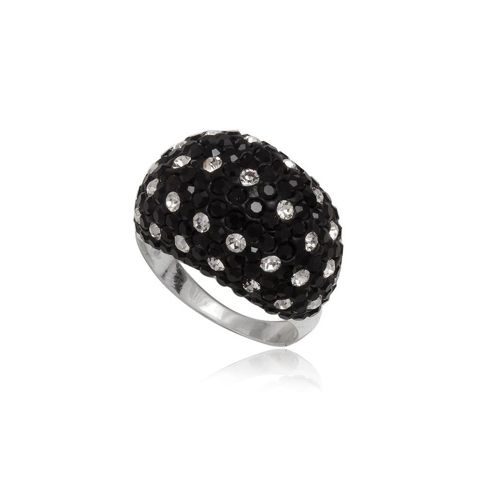 Black and white Crystal Ring and 925 Silver