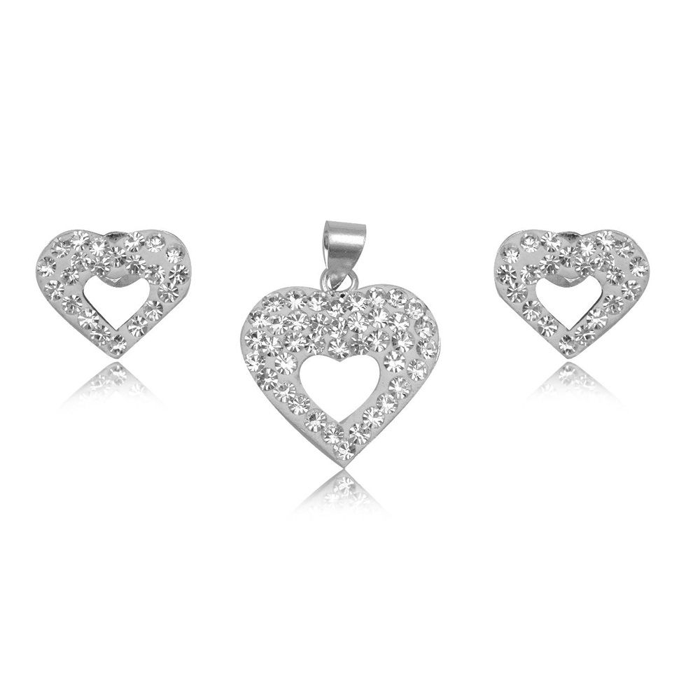 White Crystal Heart Pendant and Earrings Set and 925 Silver