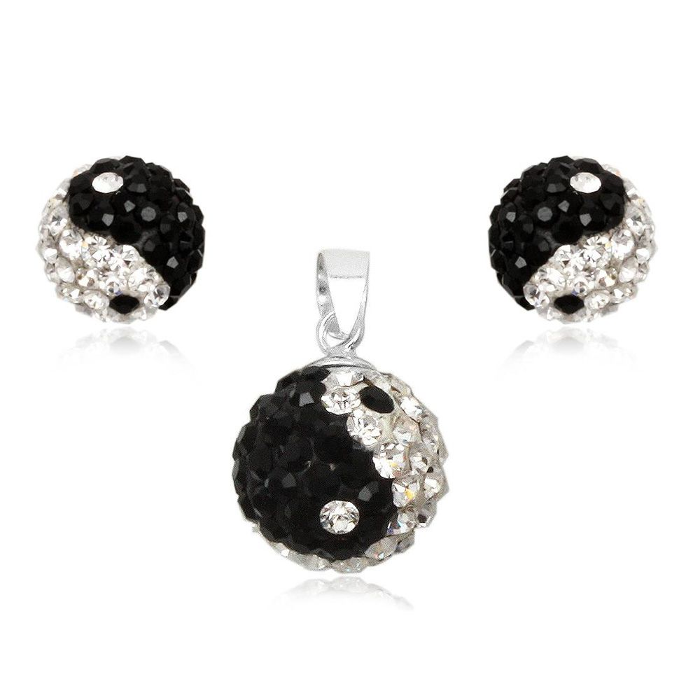 Yin Yang Crystal Pendant and Earrings Set and 925 Silver