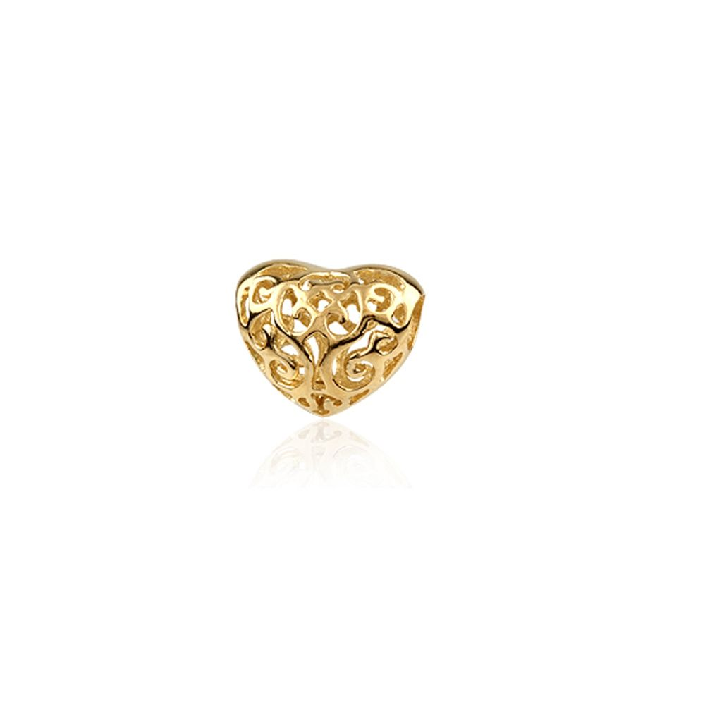 925 silver Yellow Gold plated Heart Charms Beads