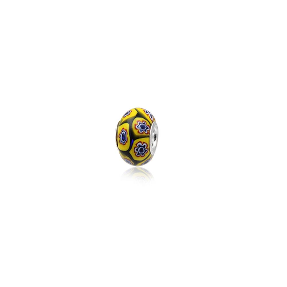 Yellow Murano Glass Charms Bead and 925 Silver
