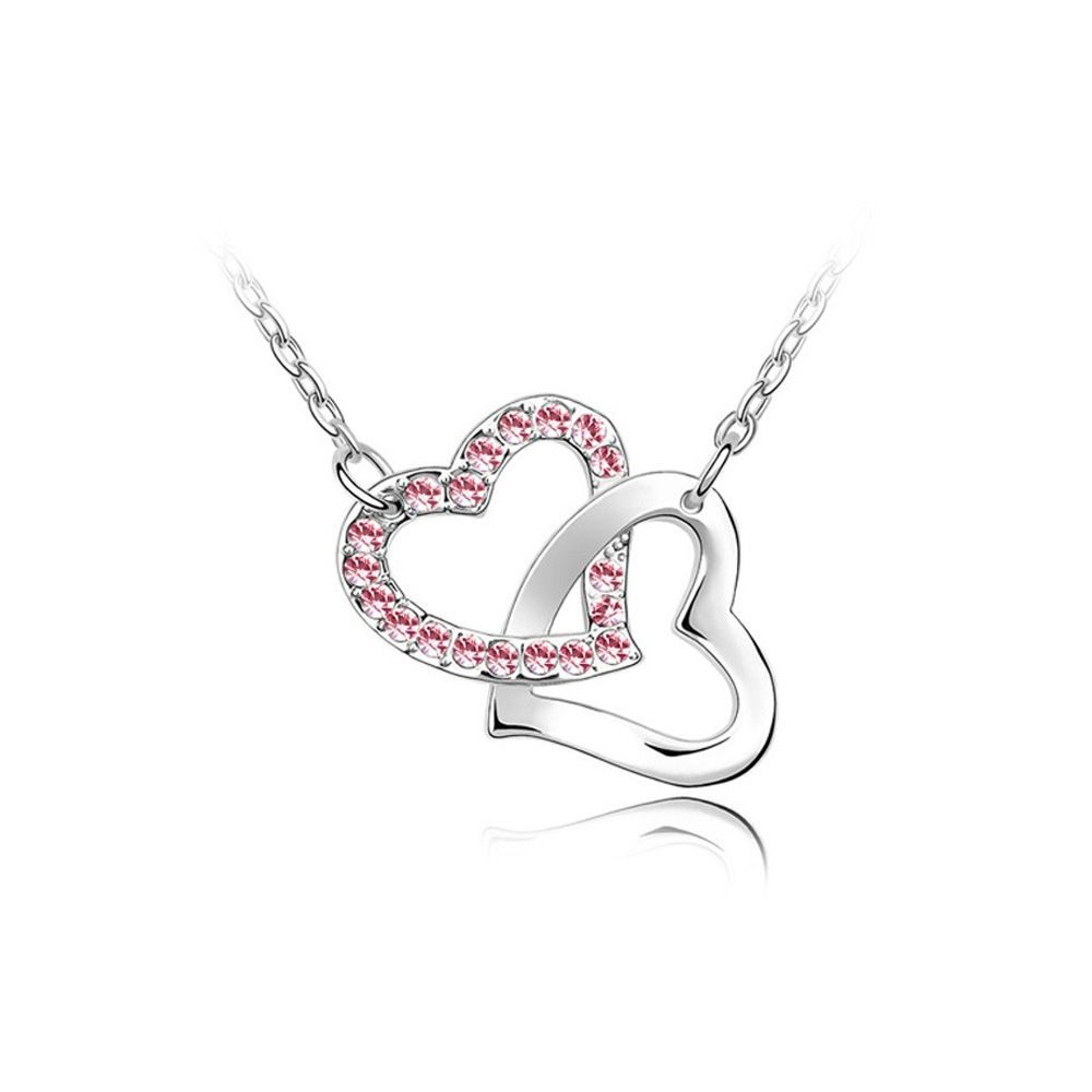 Swarovski - Double Heart Necklace made with a Pink Crystal from Swarovski and Rhodium plated