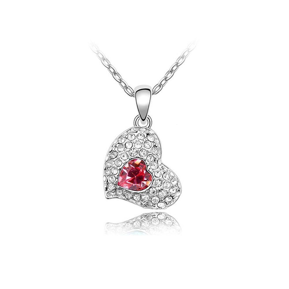 Swarovski - Heart Necklace made with a Pink crystal from Swarovski